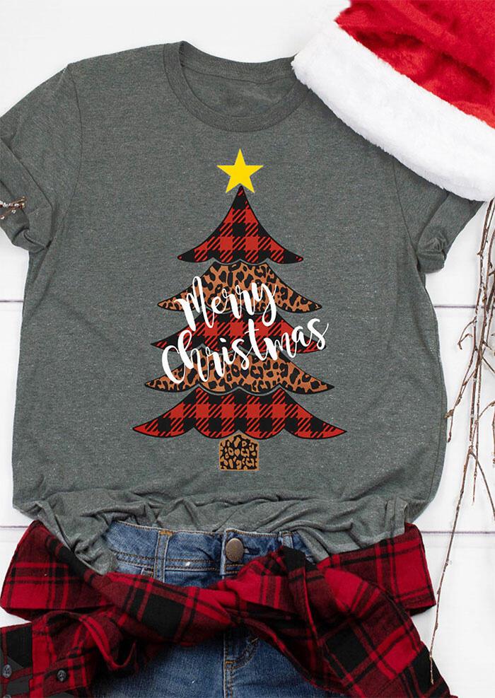 Merry Christmas Plaid Leopard Star Tree T-Shirt Tee - Dark Grey