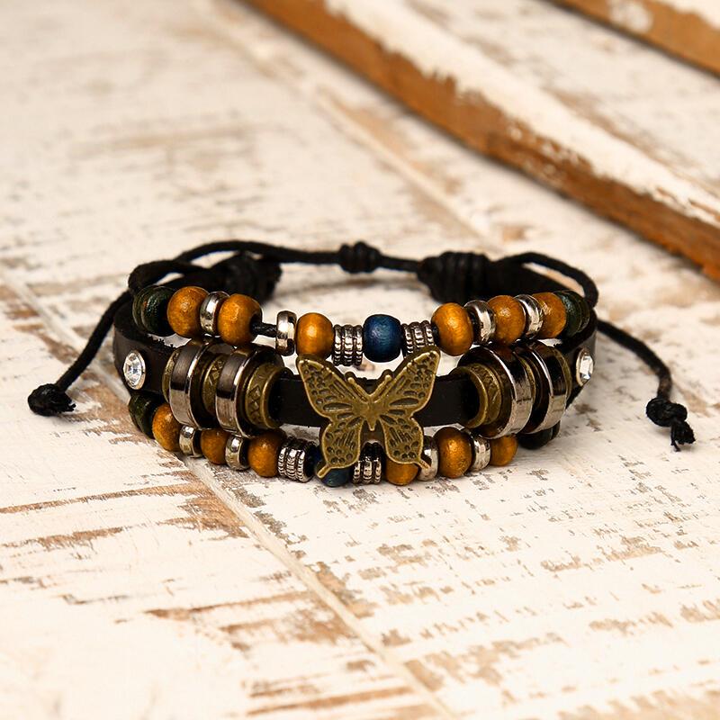 Vintage Beading Butterfly Multi-Layered Adjustable Braided Bracelet