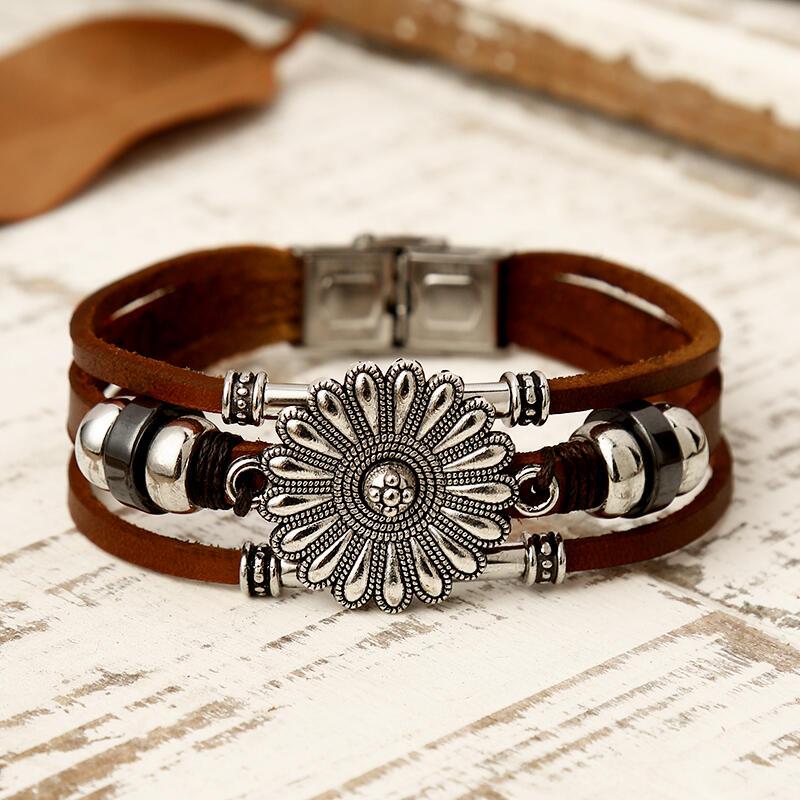 Fairyseason coupon: Sunflower Leaf Beading Multi-Layered Leather Bracelet