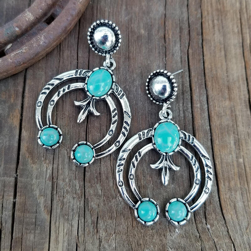 Vintage Bohemian Turquoise Crescent Shaped  Earrings