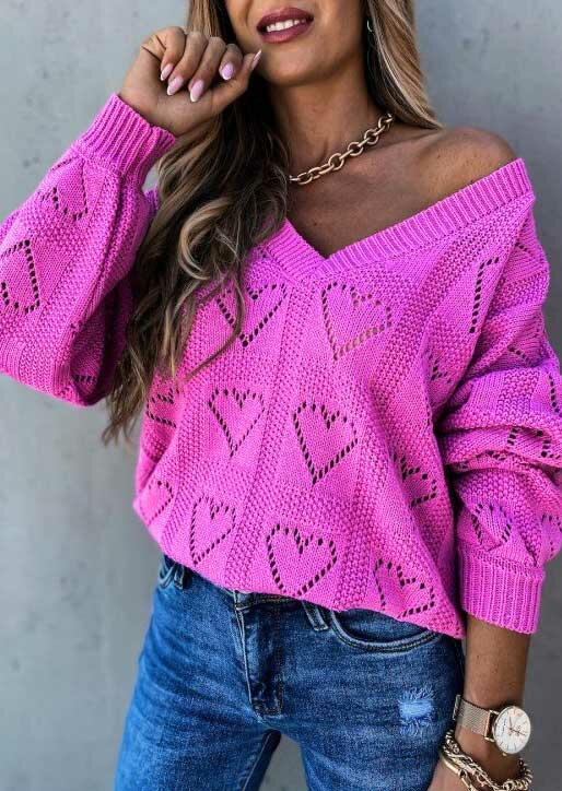 Hollow Out Heart V-Neck Pullover Sweater - Purple