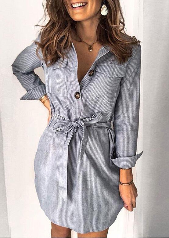 Striped Pocket Tie Turn-Down Collar Mini Dress - Gray