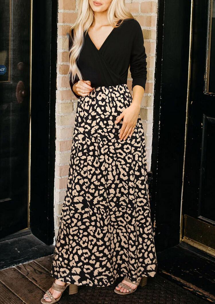 Leopard Splicing Long Sleeve V-Neck Maxi Dress - Black