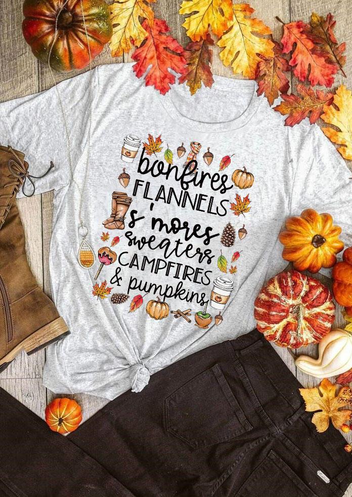 Thanksgiving Campfires & Pumpkins Leaf Drink T-Shirt Tee - Light Grey
