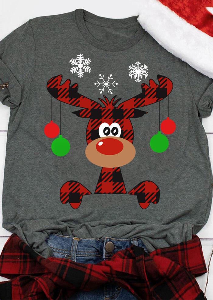 Christmas Plaid Reindeer Snowflake T-Shirt Tee - Dark Grey