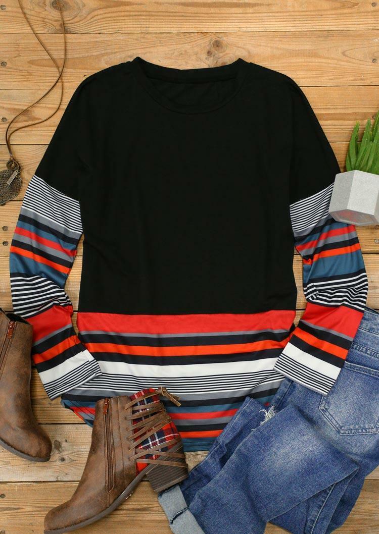 Colorful Striped Splicing Long Sleeve Asymmetric Blouse - Black