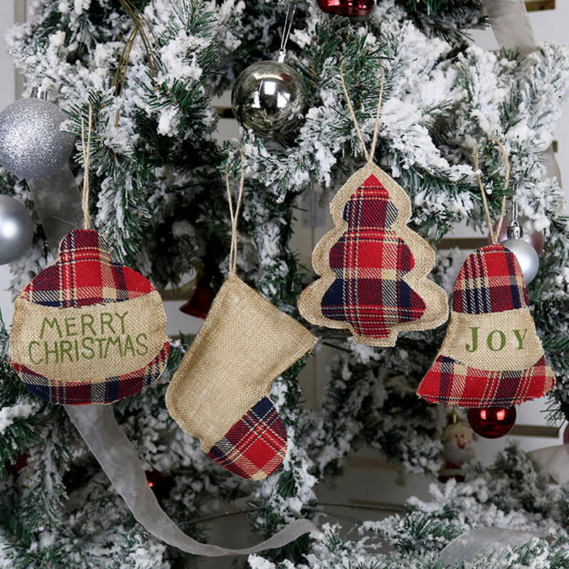 Christmas Tree Ornament Plaid Hanging Decoration