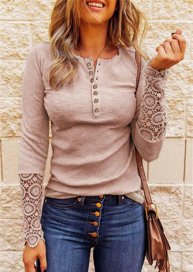 Fairyseason coupon: Lace Splicing Hollow Out Button Blouse - Pink