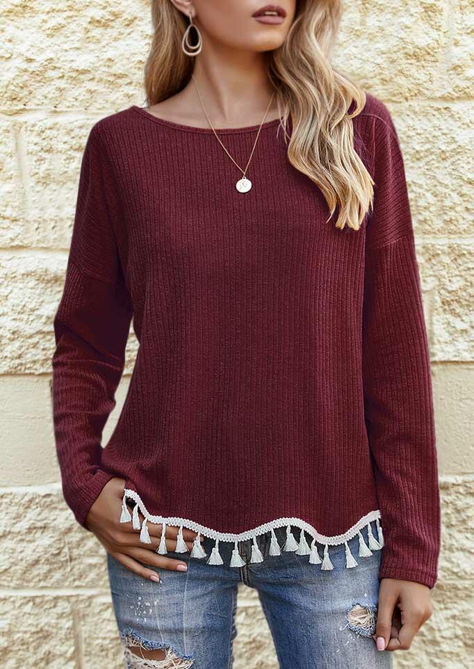 Tassel Splicing Long Sleeve Knitted Blouse - Burgundy