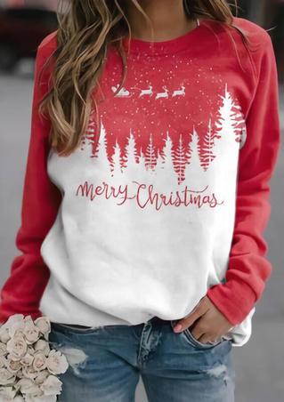 Merry Christmas Reindeer Tree Pullover Sweatshirt - Red