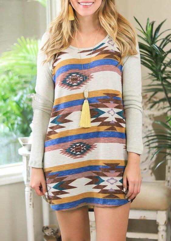 Fairyseason coupon: Aztec Geometric Colorful Striped Splicing Mini Dress - Gray
