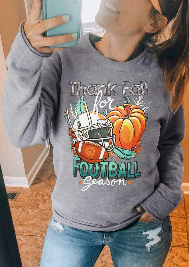 Thanksgiving Thank Fall For Football Sport Pumpkin Sweatshirt - Gray