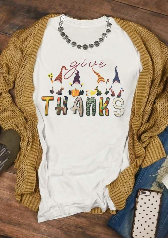Fairyseason coupon: Thanksgiving Gnomies Pumpkin Give Thanks T-Shirt Tee - White