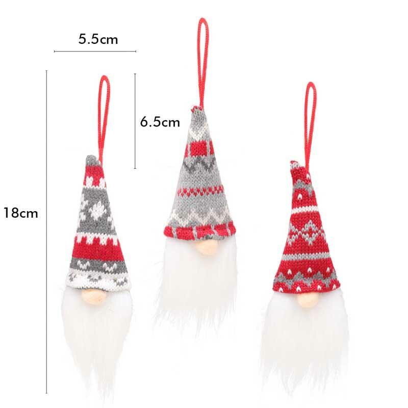 3Pcs Stiped Snowflake Christmas Tree Hanging Faceless Doll
