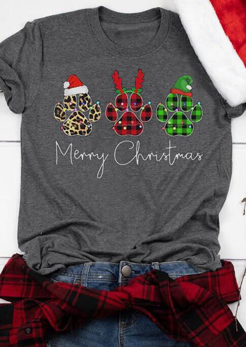 Christmas Dog Paw Leopard Plaid Letter T-Shirt Tee - Dark Grey