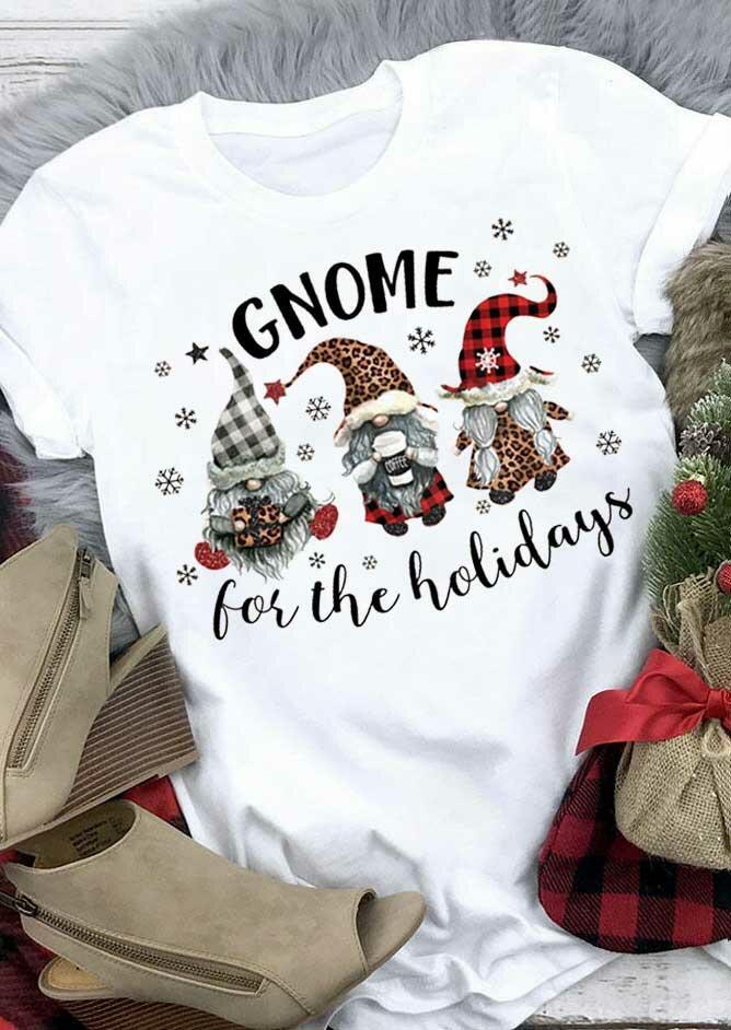 Christmas Leopard Buffalo Plaid Gnome Snowflake T-Shirt Tee - White