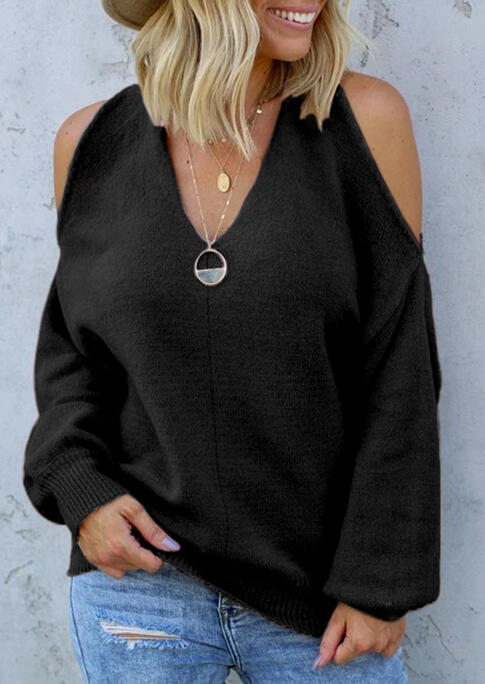Cold Shoulder Twist Knitted Sweater - Black