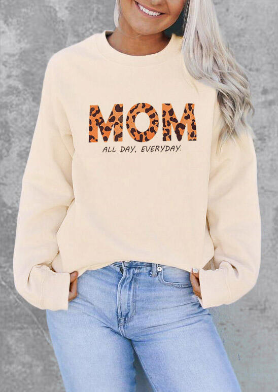 Leopard Mom All Day Everyday Pullover Sweatshirt - Beige