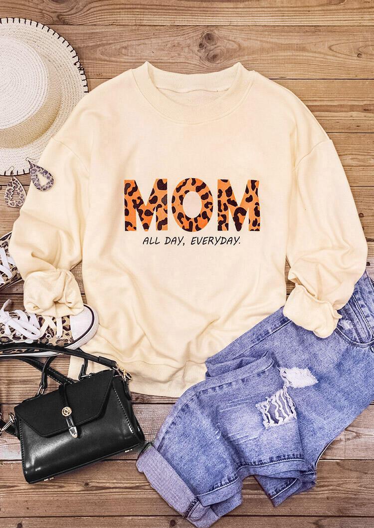 Sweatshirts Leopard Mom All Day Everyday Pullover Sweatshirt in Beige. Size: M