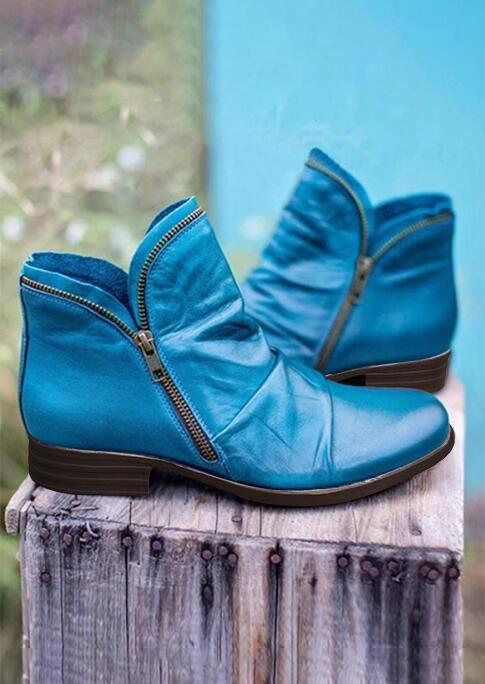 Ruffled Zipper Round Toe Chunky Heel Boots - Blue