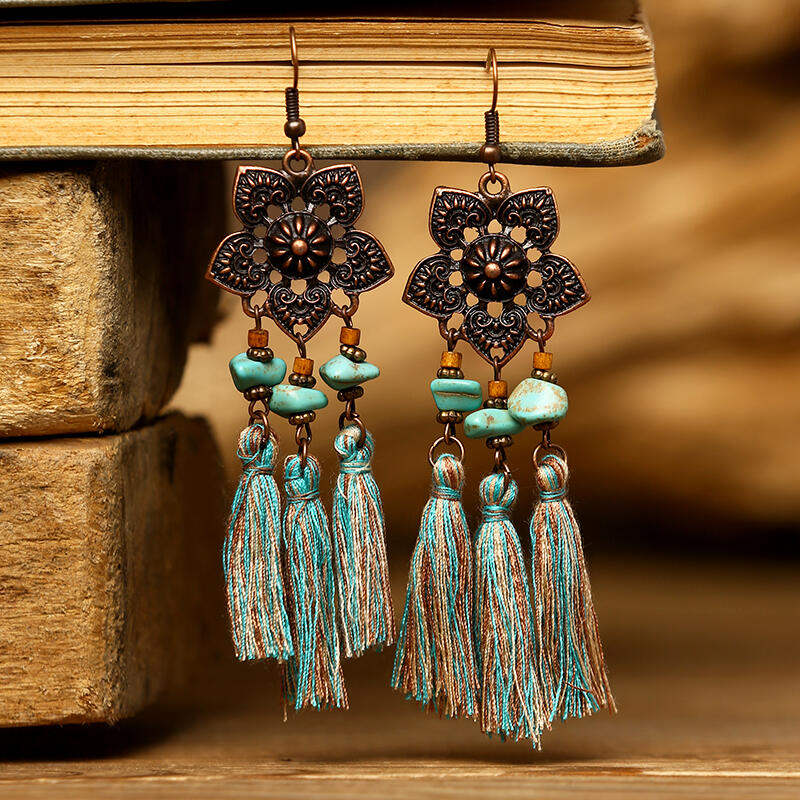 Hollow Out Floral Turquoise Tassel Dangle Earrings - Cyan