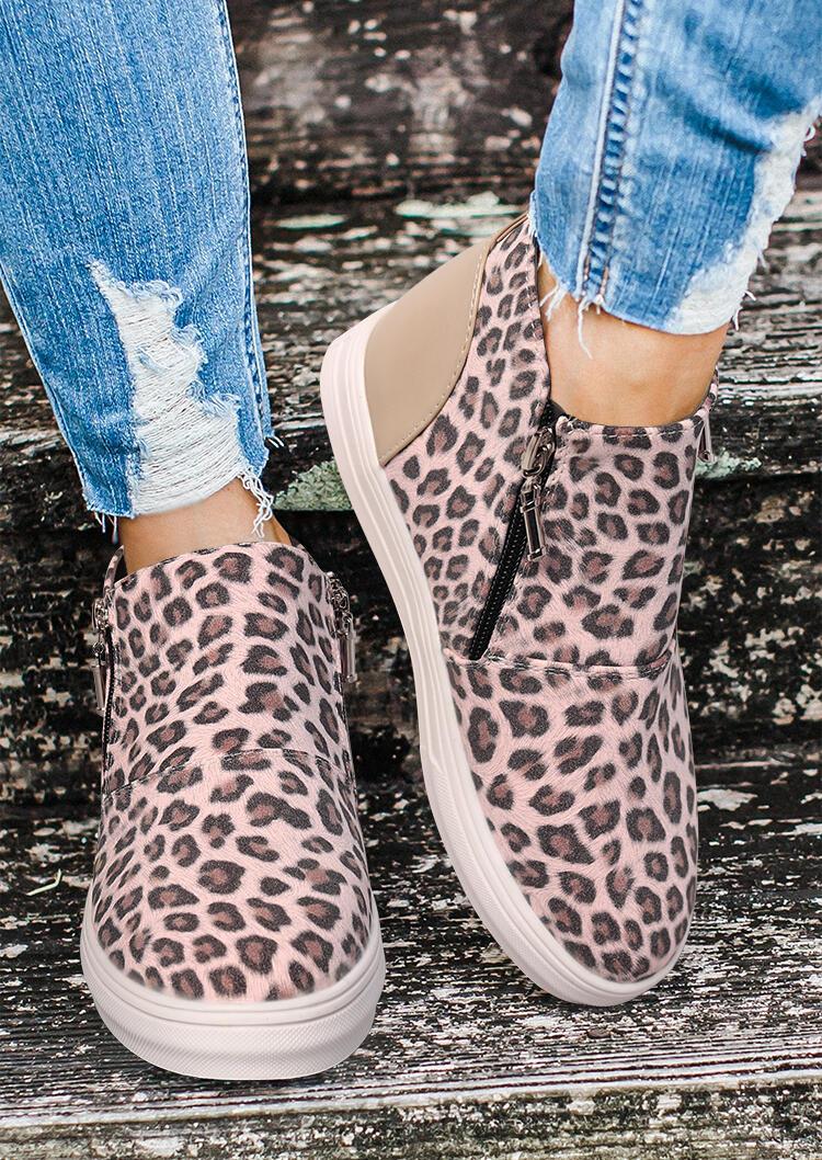 Fairyseason coupon: Leopard Splicing Zipper Round Toe Ankle Boots