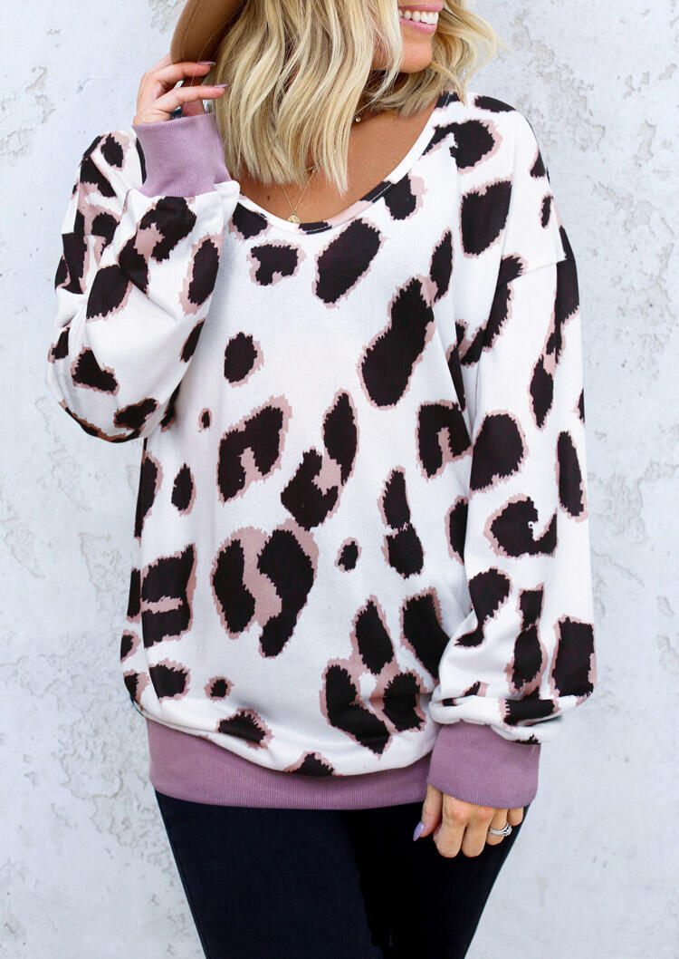 Leopard V-Neck Knitted Pullover Sweater