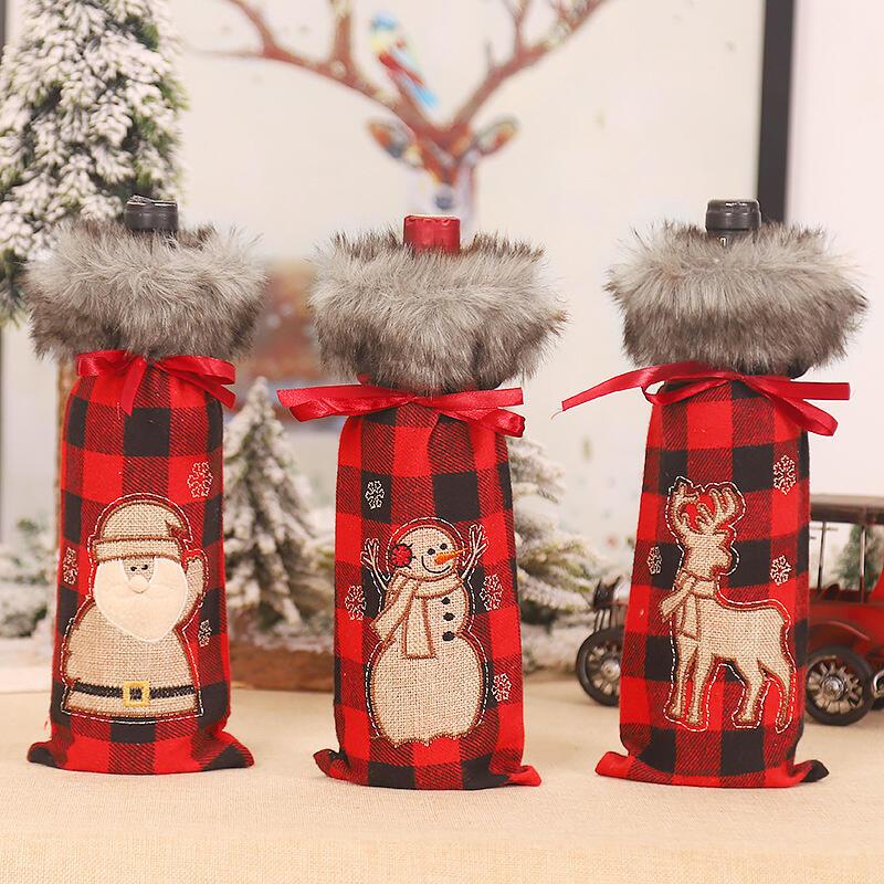 Christmas Santa Reindeer Buffalo Plaid Plush Wine Bottle Cover