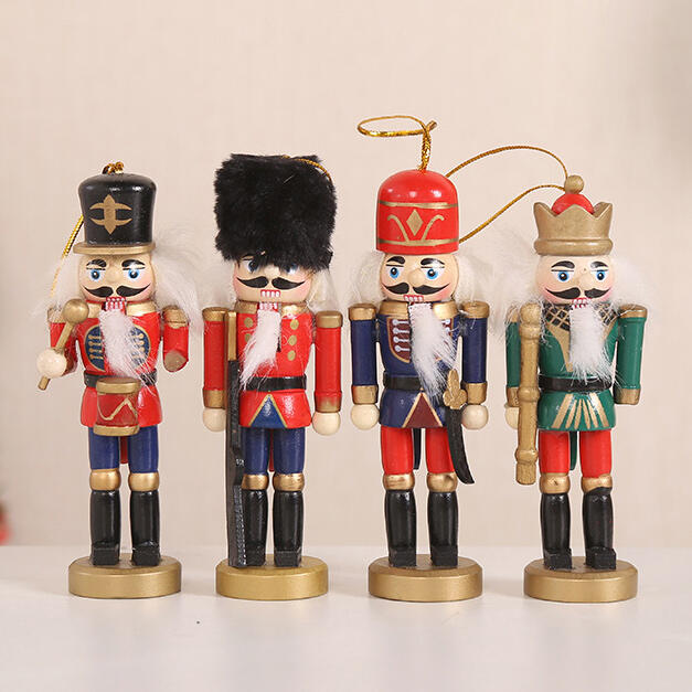 4Pcs Wooden Nutcracker Soldier Christmas Tree Ornaments Puppets