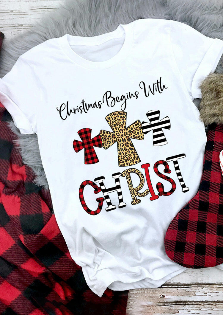 Christmas Begins with Christ Plaid Leopard Striped Cross T-Shirt Tee - White