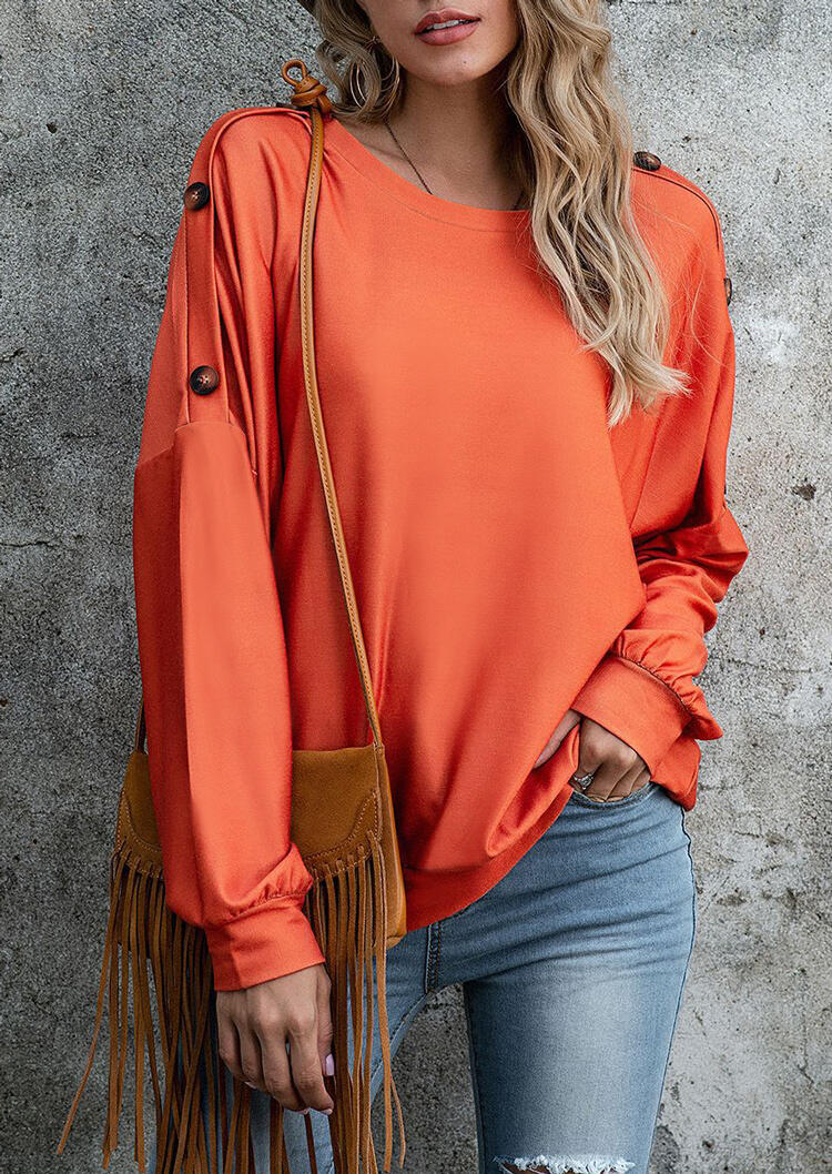 Button Batwing Sleeve O-Neck Blouse - Orange