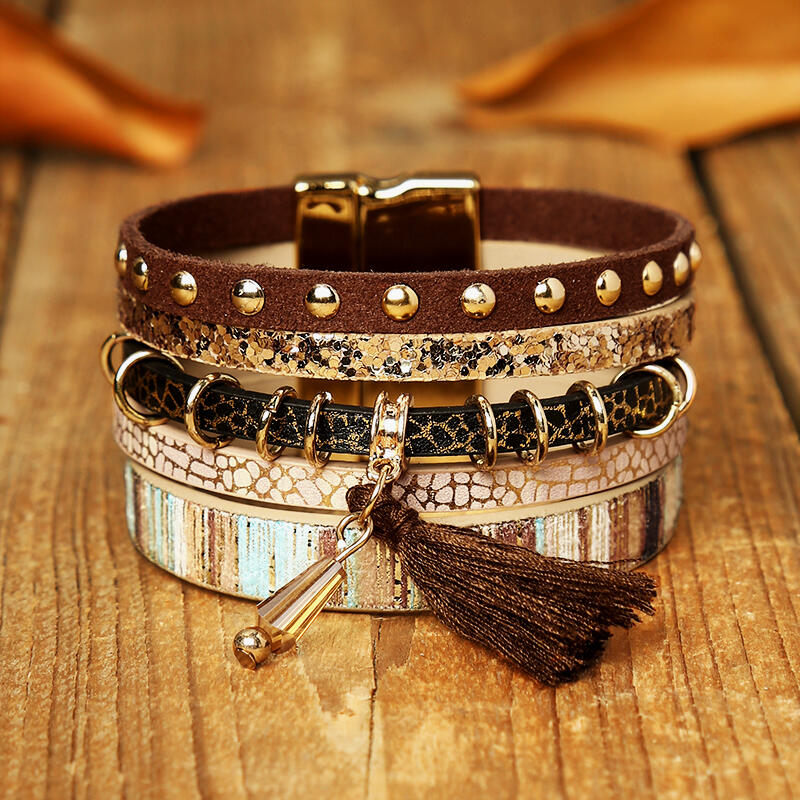 Fairyseason coupon: Leopard Tassel Beading Multi-Layered Leather Bracelet
