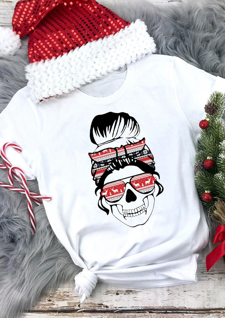 Christmas Mom Life Skull O-Neck T-Shirt Tee - White