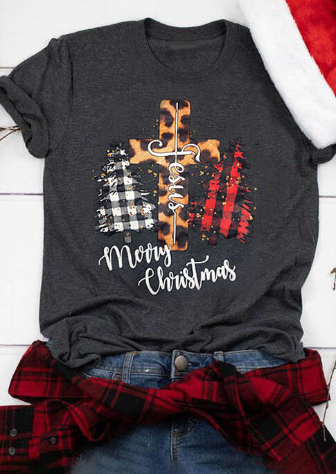 Merry Christmas Jesus Leopard Cross Plaid Tree T-Shirt Tee - Gray