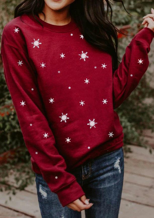 Christmas Snowflake Snow Ice Crystal Sweatshirt - Burgundy
