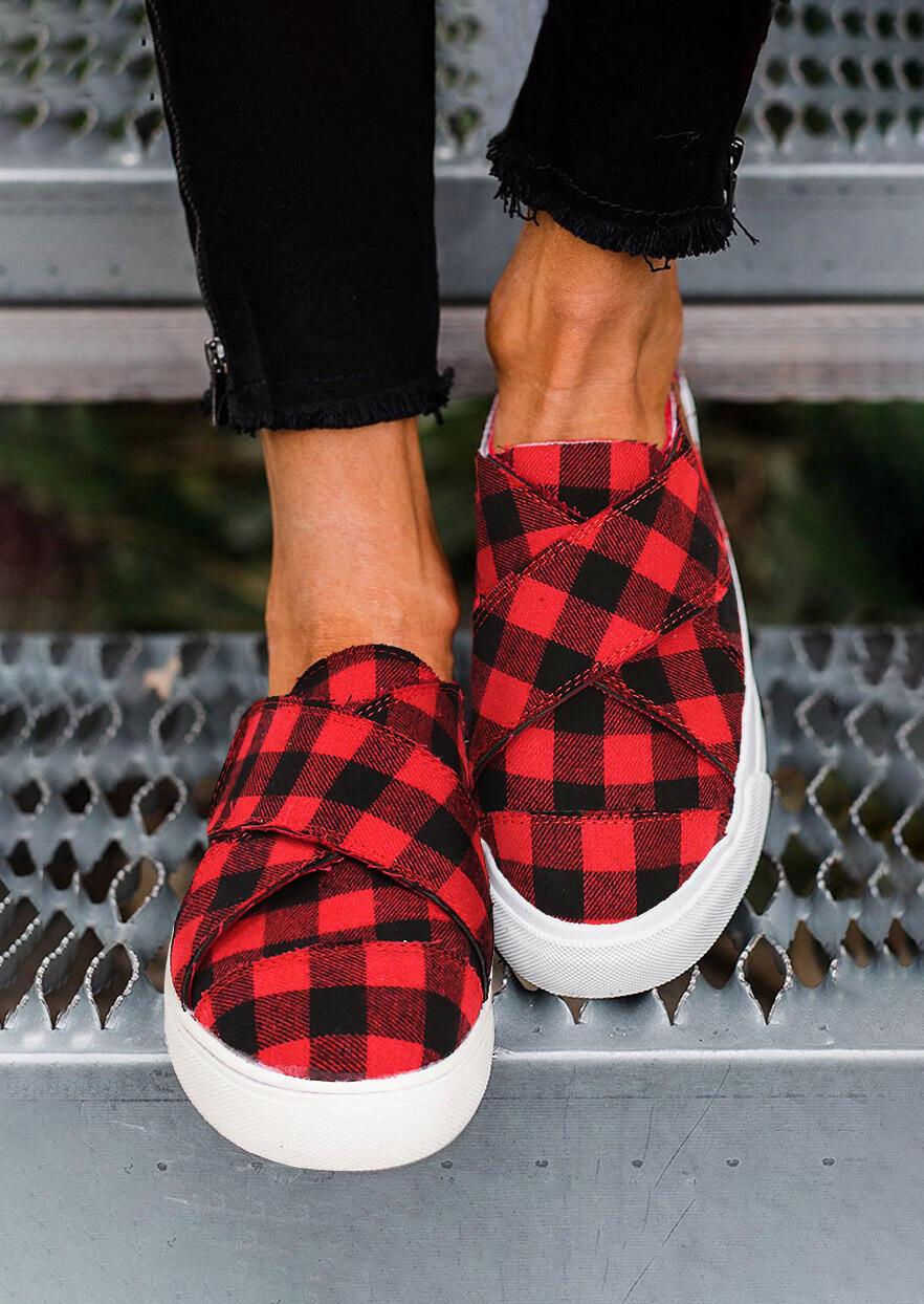 Fairyseason / Buffalo Plaid Slip On Flat Round Toe Sneakers - Red