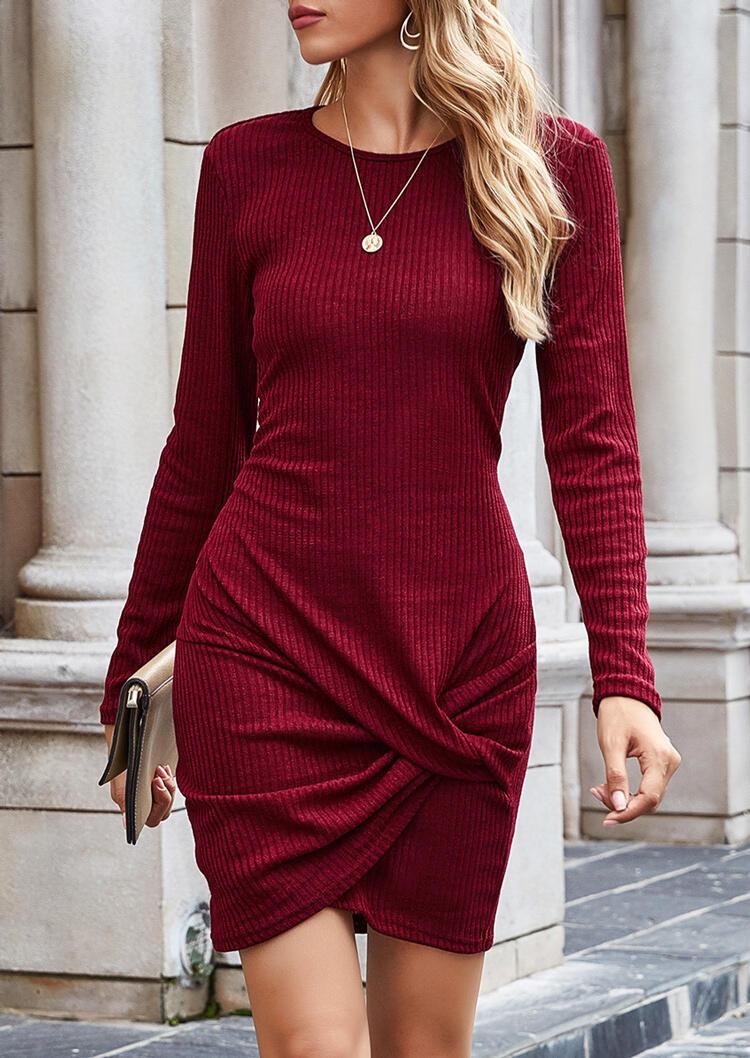 Fairyseason coupon: Twist O-Neck Knitted Asymmetric Bodycon Dress - Burgundy