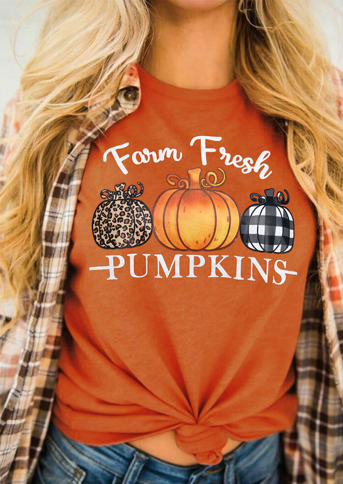 Thanksgiving Farm Fresh Leopard Plaid Pumpkins T-Shirt Tee - Orange