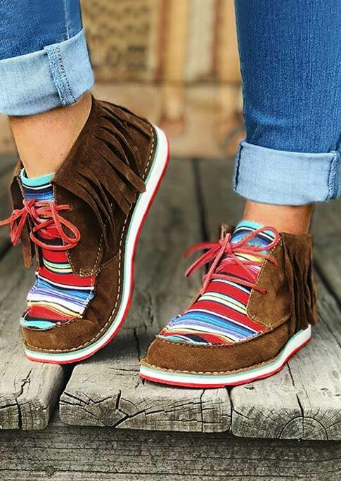 Serape Striped Tassel Splicing Lace Up Flat Sneakers - Brown