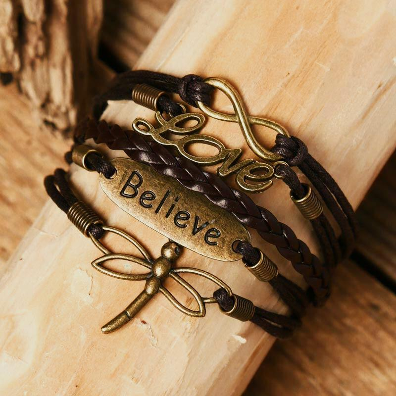 Fairyseason coupon: Love Believe Hollow Out Dragonfly Multi-Layered Braided Bracelet