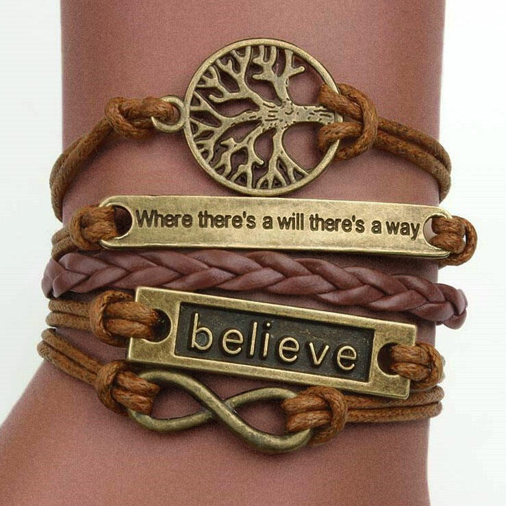 Fairyseason coupon: Believe Hollow Out Tree Multi-Layered Braided Bracelet