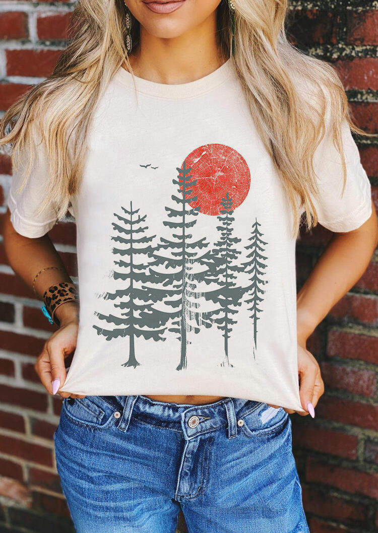Evergreen Tree Sun O-Neck T-Shirt Tee - White