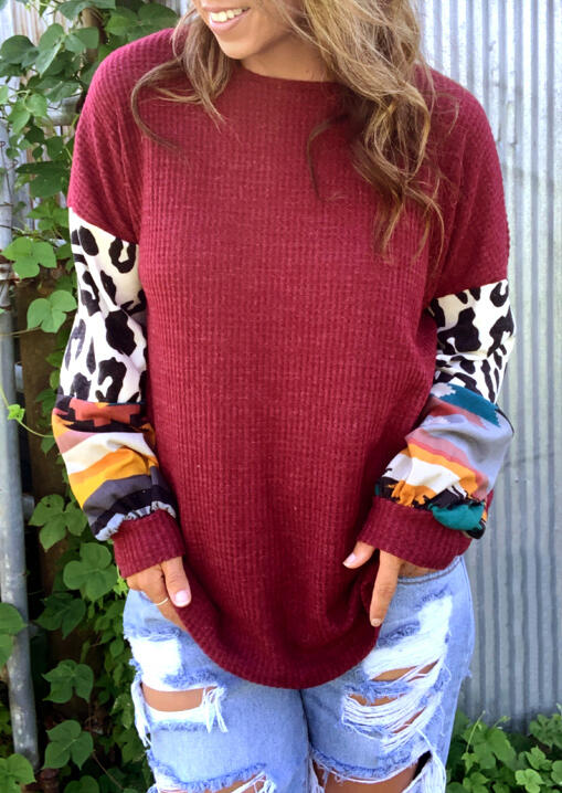 Leopard Splicing Long Sleeve Blouse - Burgundy