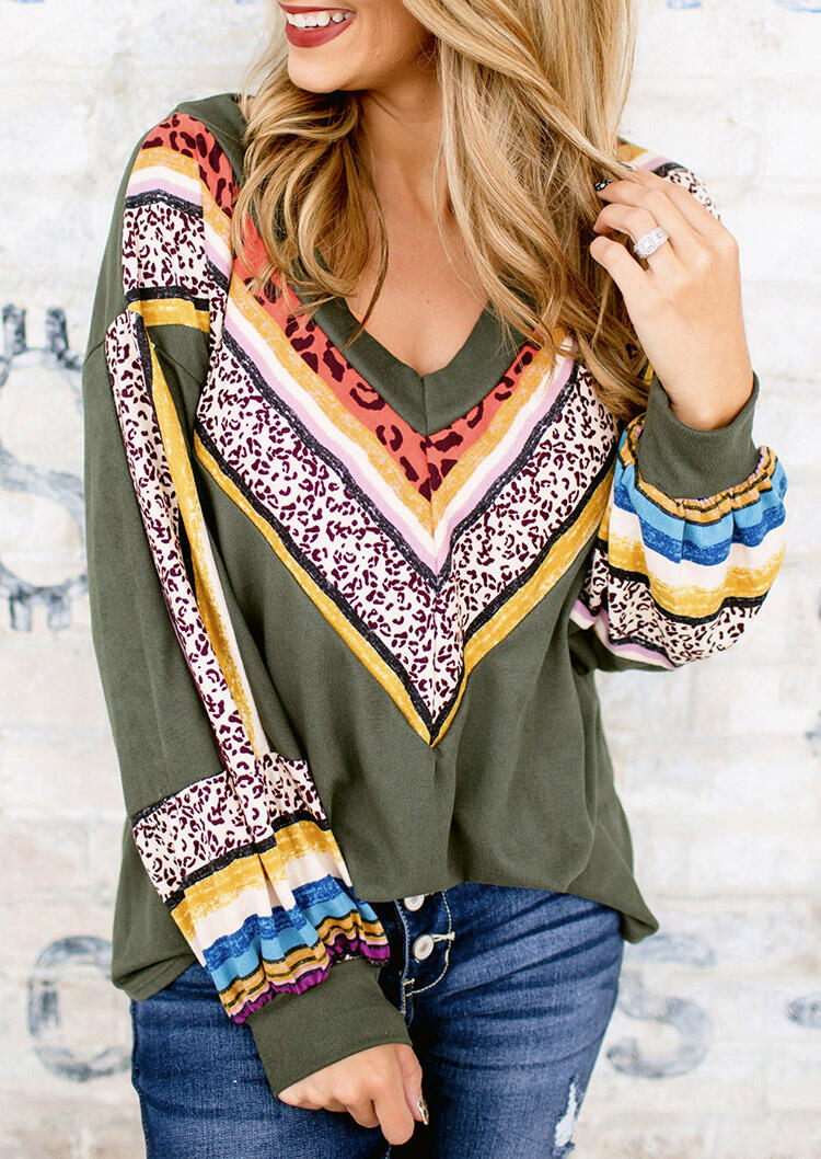 Leopard Splicing Colorful Striped V-Neck Blouse - Army Green