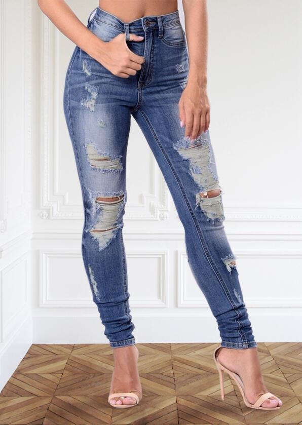 Hollow Out Ripped Pocket Zipper Button Denim Jeans - Blue