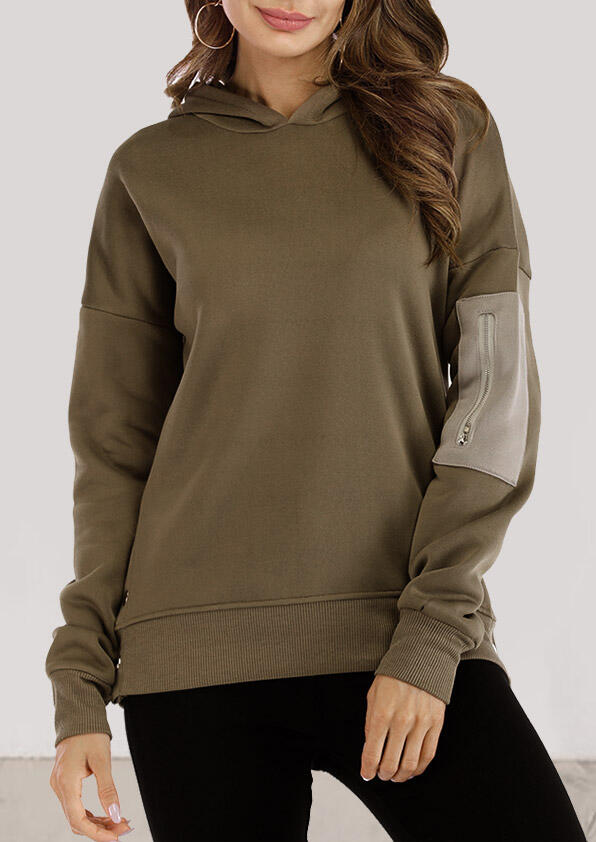 Zipper Pocket Splicing Long Sleeve Hoodie - Army Green