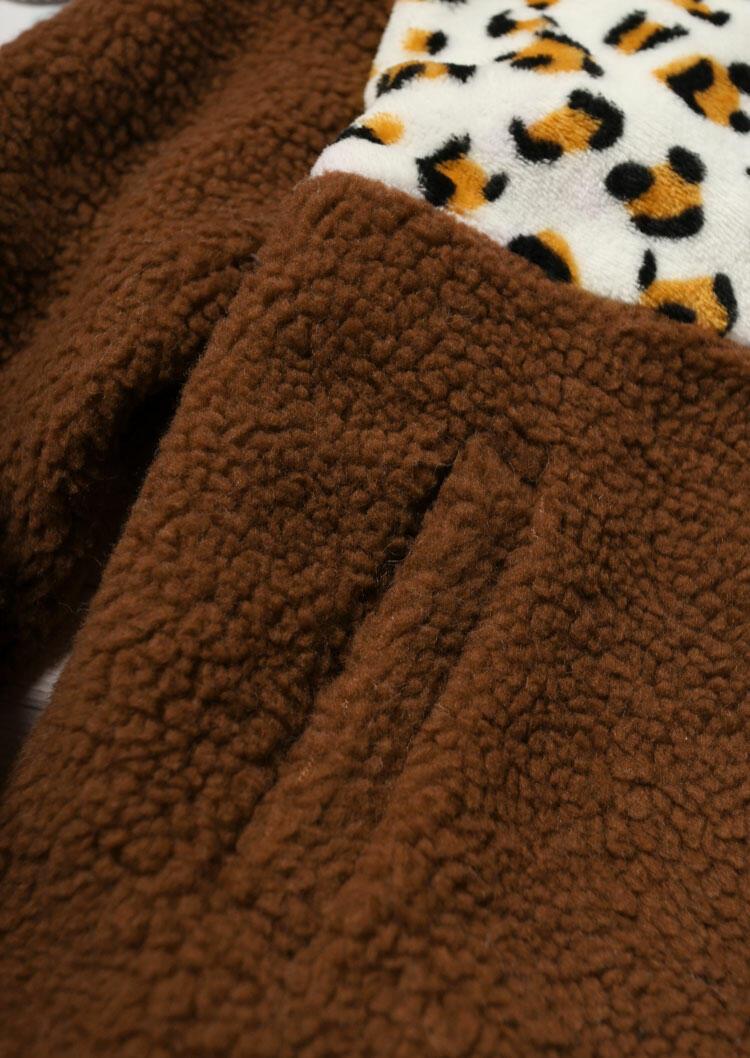 Leopard Splicing Pocket Zipper Drawstring Fleece Coat - Brown