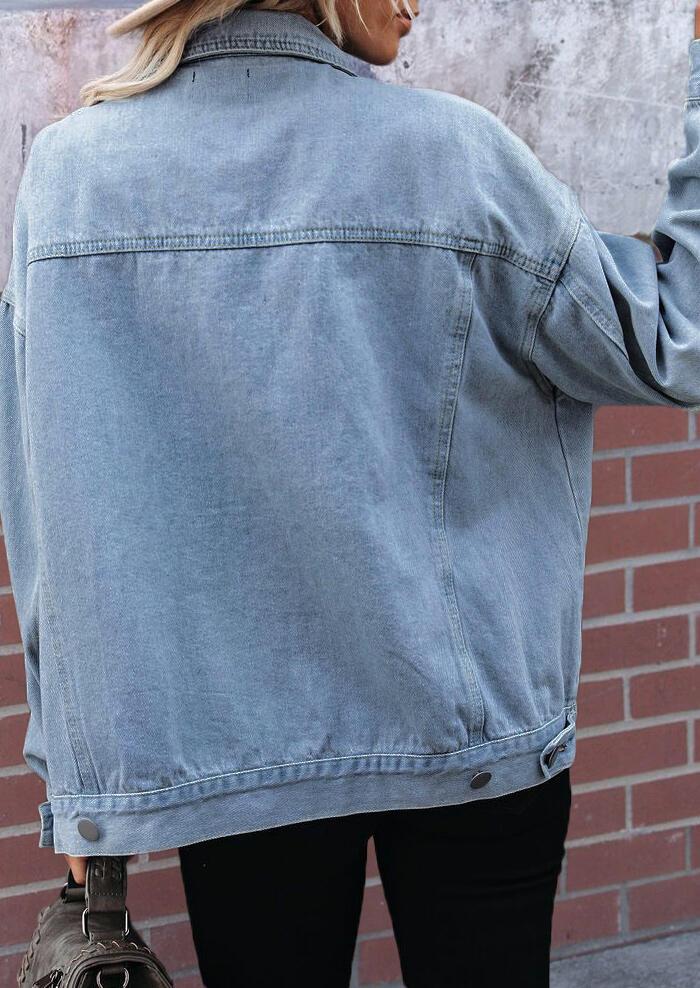 Button Pocket Long Sleeve Casual Denim Coat - Blue
