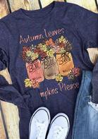 Autumn Leaves Pumpkins Please Floral T-Shirt