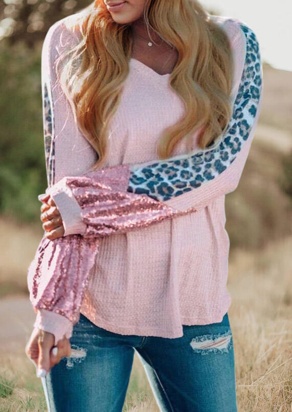 Sequined Leopard Splicing Long Sleeve Blouse - Pink